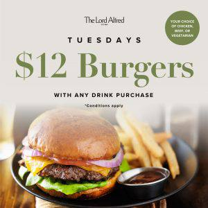 A banner announcing Tuesday's $12 Burgers at The Lord Alfred Hotel.