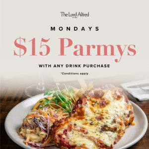 A banner announcing Monday's $15 Parmys at The Lord Alfred Hotel.
