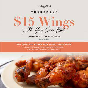 A banner announcing Thursday's $15 Wings at The Lord Alfred Hotel.