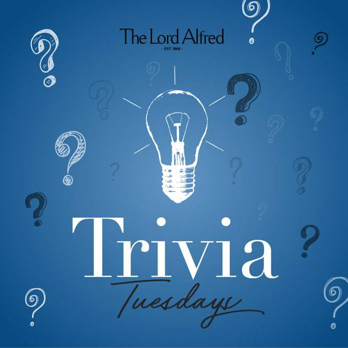 A banner for Trivia Tuesdays at The Lord Alfred Hotel.